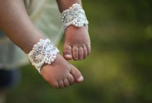 Baby Barefoot Sandals With Pearls Shoes Baptism