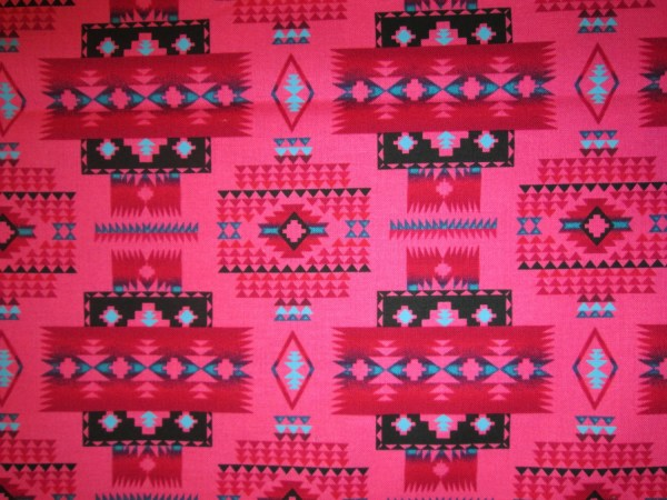 Teal Gold Navajo Native American Border Cotton Fabric by
