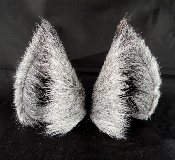 Gray Silver Black Long Fur Leather Wolf Dog Ears Limited