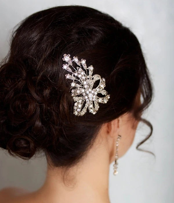 Bridal Hair Comb Rhinestone Hair Brooch Wedding Jewel Comb