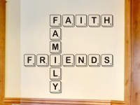 Living Room Wall Decal Scrabble Letters Faith Family Friends