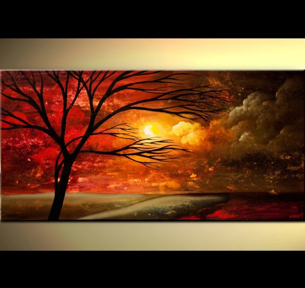 Abstract Landscape Acrylic Painting Tree