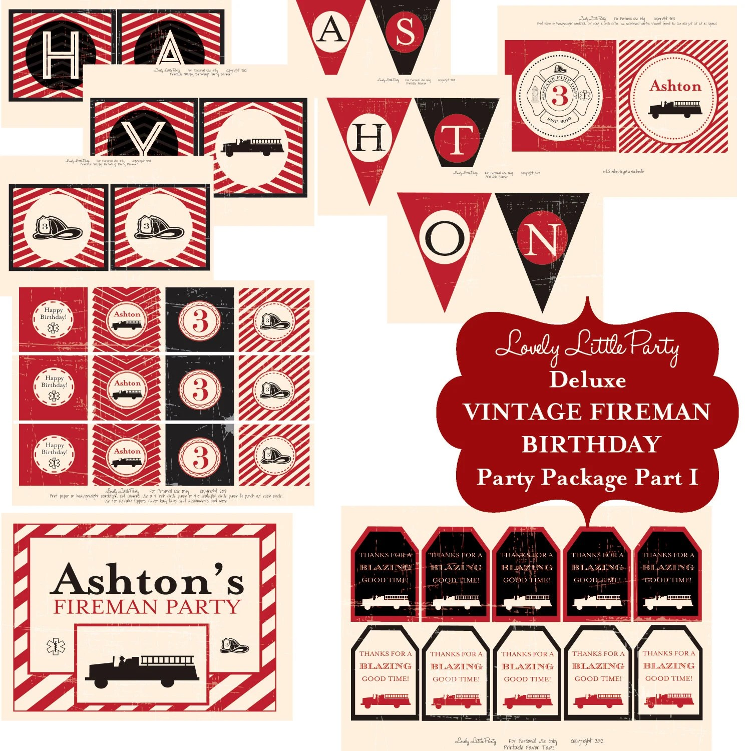 Personalized Printable Vintage Fireman Deluxe Birthday Package