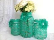 seafoam green 3 piece mason jars