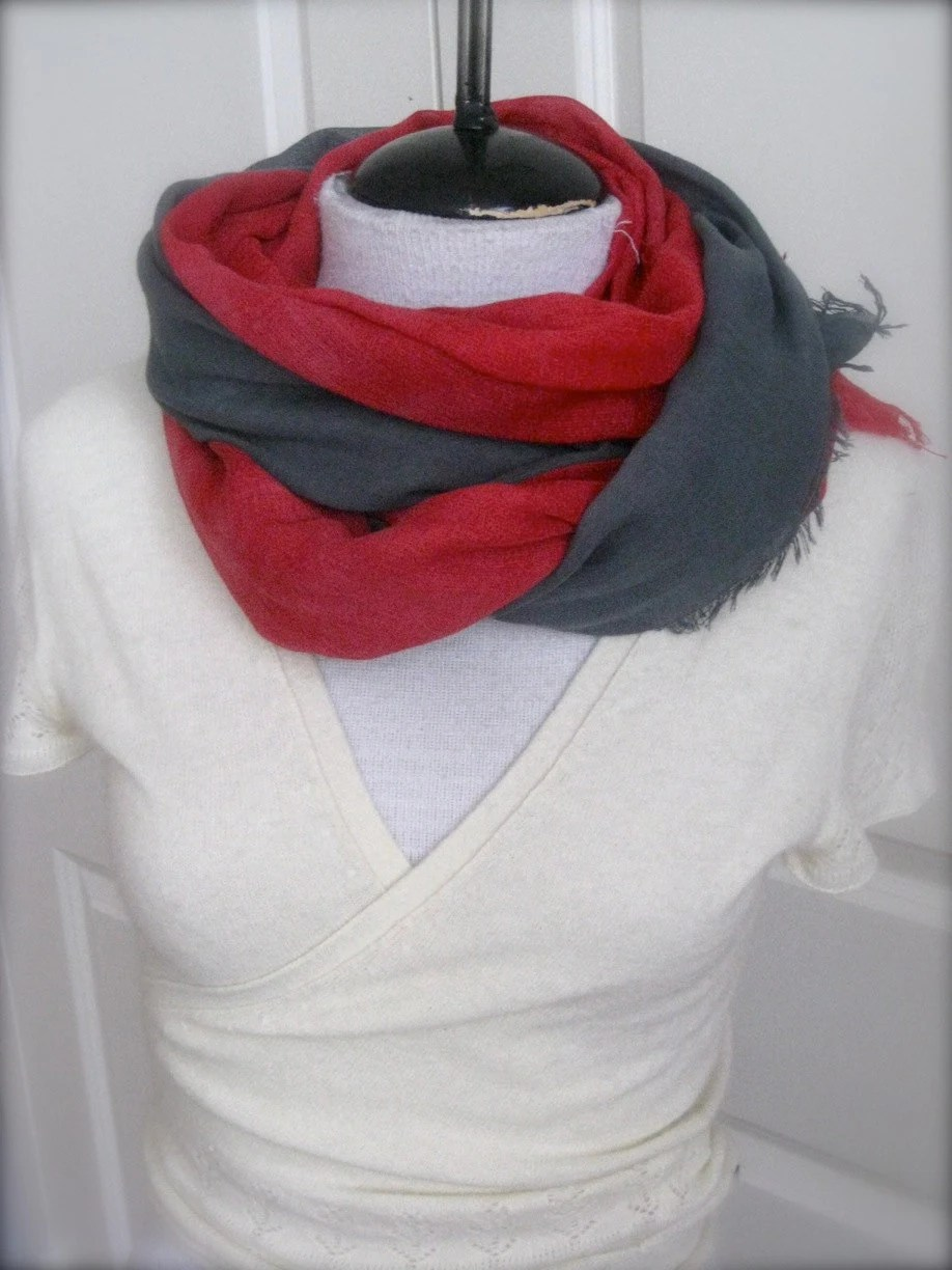 Red and Grey Cotton Scarf-  hand dyed ombre cotton scarf - FeltingStories