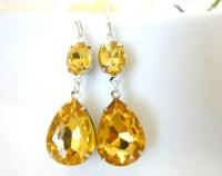 Yellow topaz earring | Etsy