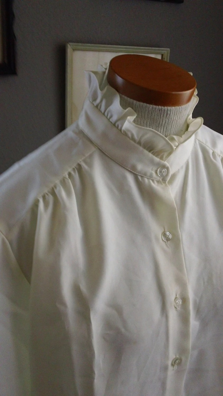 70s High Neck Ruffle Victorian Style Office Blouse
