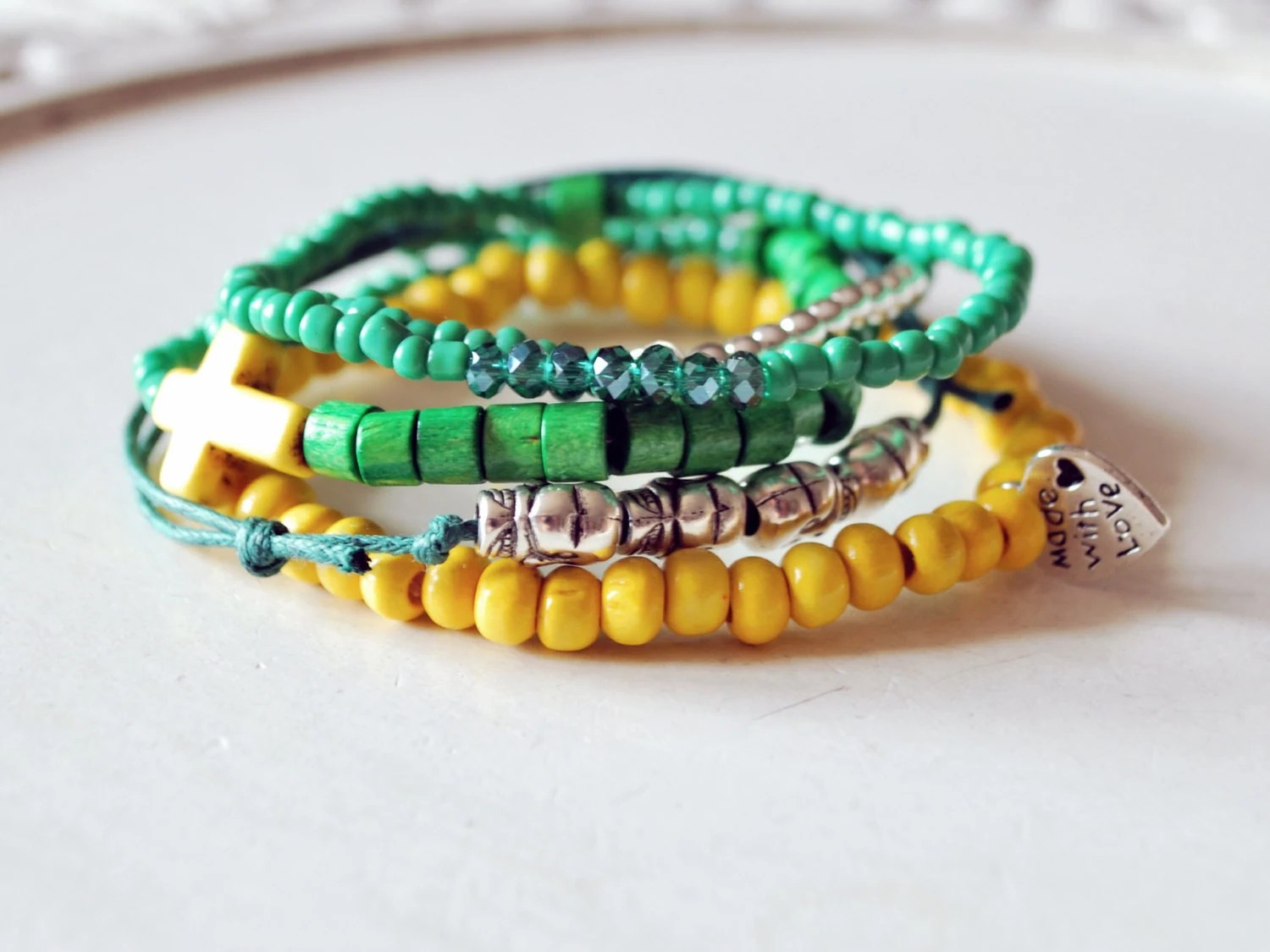 stacked bracelets set of five - green and yellow multipack bracelets - beaded jewelry arm party - black orchid - BlackOrchidbySC