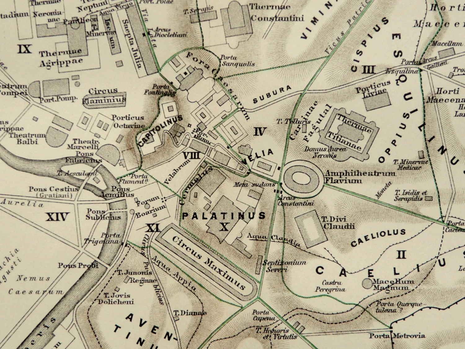 Antique City Map Of Ancient Rome Roman Empire 118 Years