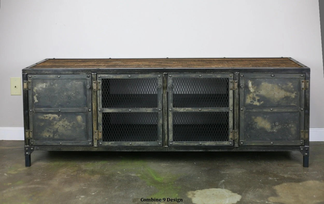 Vintage Industrial Media Console/Credenza. Reclaimed Wood Top