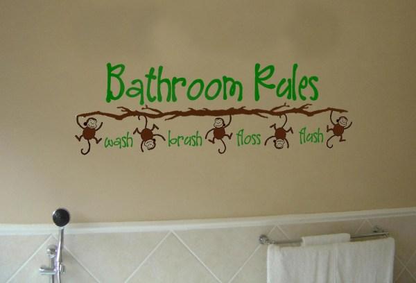 Bathroom Rules Monkey Vinyl Wall Art Decal Kid'