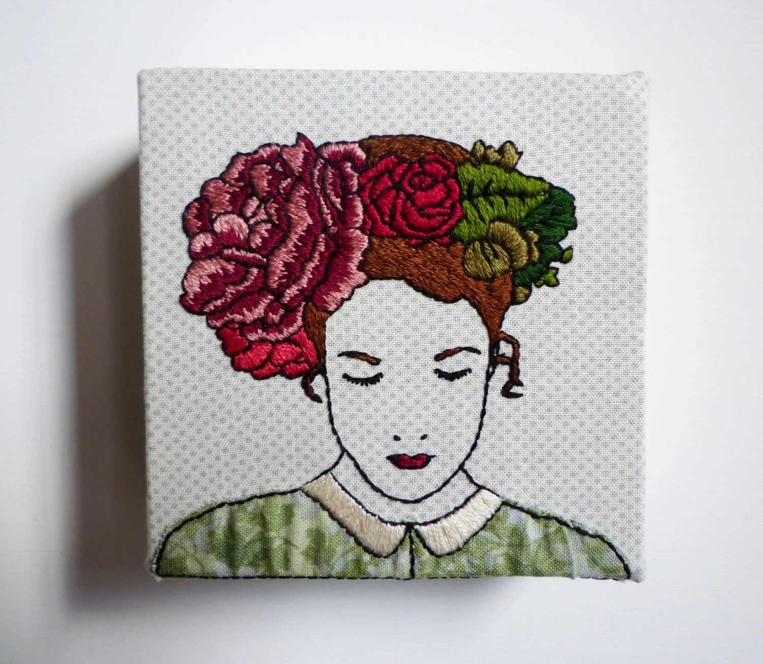 Modern Embroidery, 'Felicity' 4x4inch by Cheese Before Bedtime