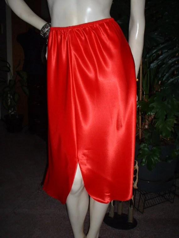 Vintage 80s Valentine Red Satin Half Slip Petticoat Slits