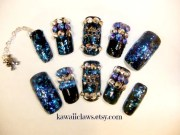 black blue glitter spikes & studs