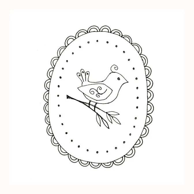 Bird Embroidery Pattern Woodland Animal by