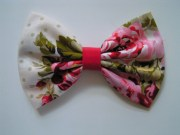 pink floral hair bow fabric