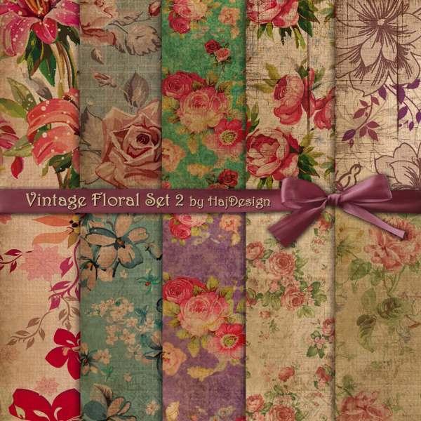 Floral Digital Paper Vintage Set 2