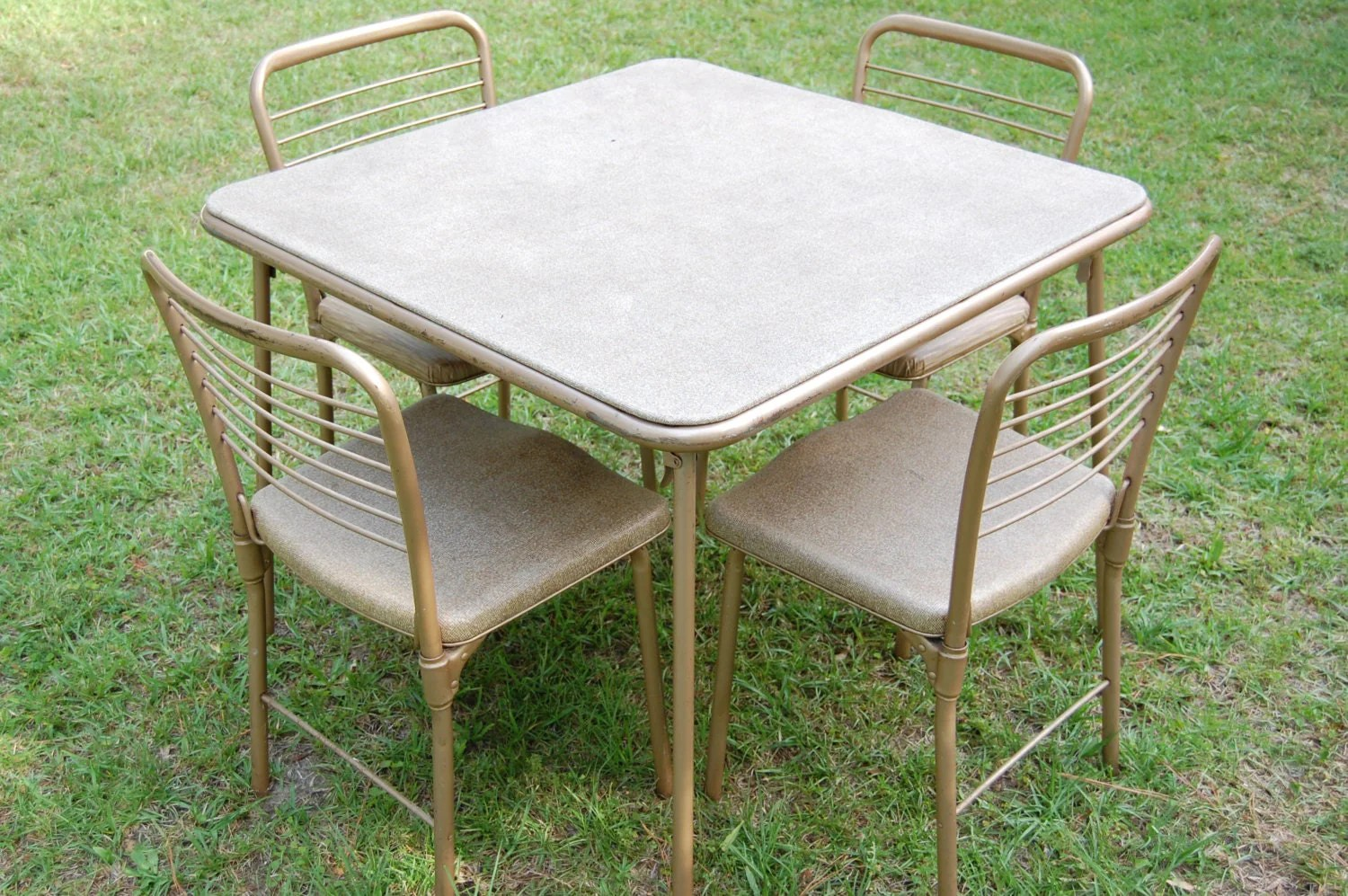vintage table and chairs chair for writing desk cosco 1950s metal gambling gaming