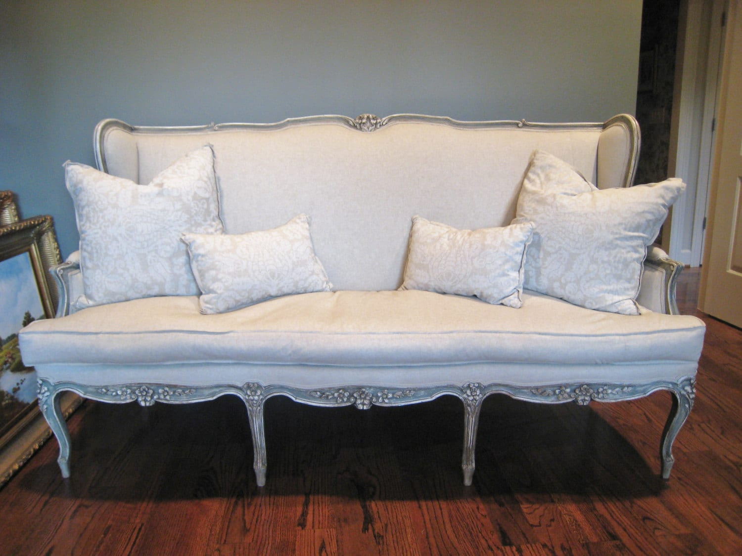 shabby chic sofa bed uk with storage chaise antique louis xv french style by