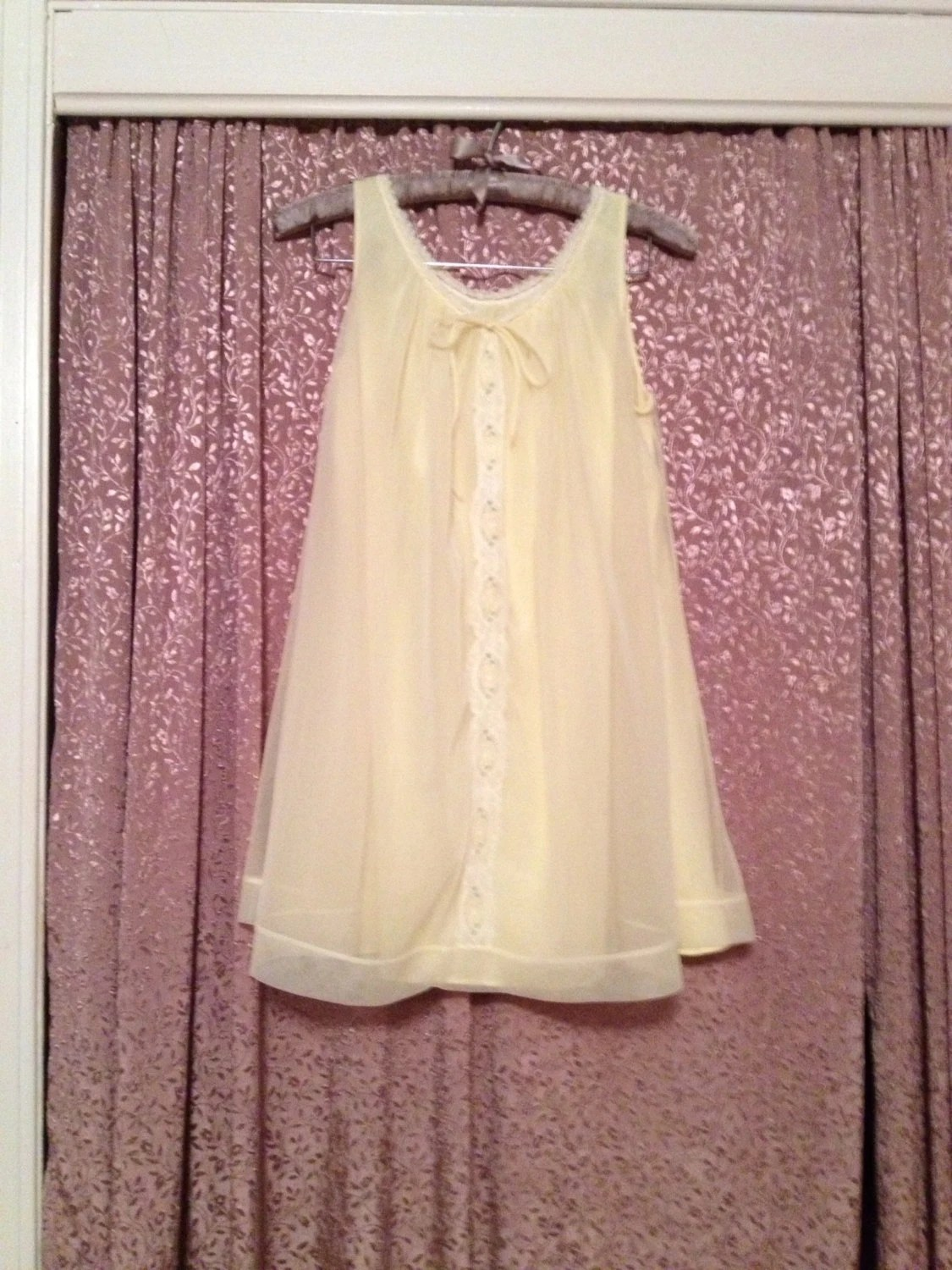 Vintage 60s yellow Chiffon Babydoll Nightie Mad Men Nightgown