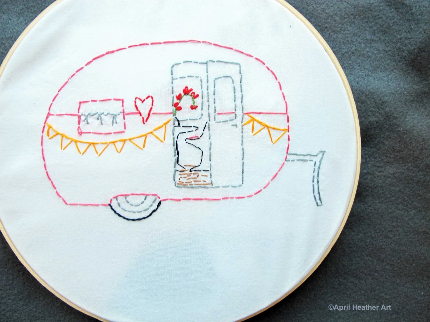 "PDF Camper Embroidery pattern - ""The LOVE SHACK"" camper"