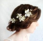 white flower hair pins bridal