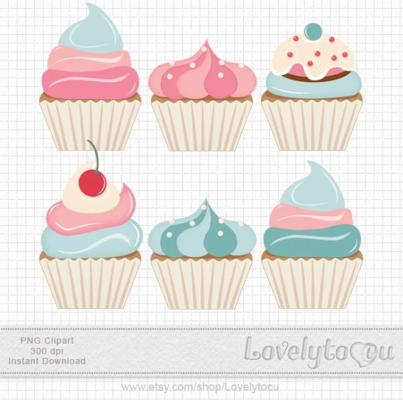 baking cupcakes clip art blue