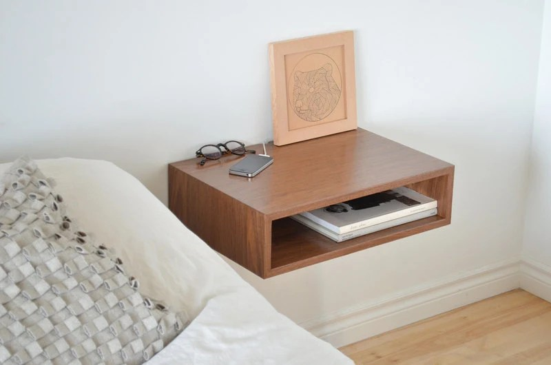 Floating end table nightstand solid walnut bedroom bedside