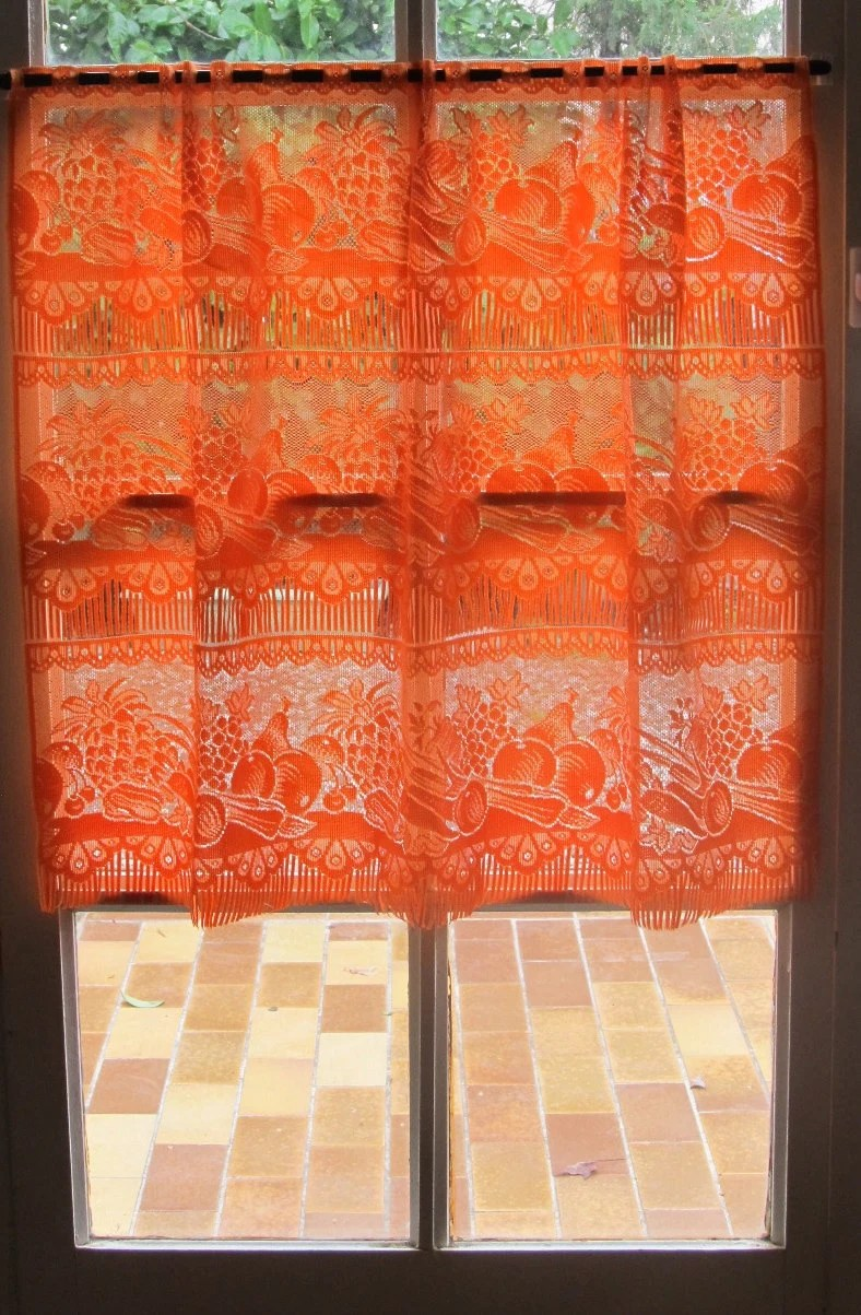 Orange French Lace Valance Kitchen Cafe Curtains Vegetables