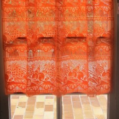 Kitchen Valance Remodeling Madison Wi Orange French Lace Cafe Curtains Vegetables