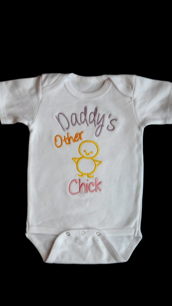 Baby Girl Clothes Embroidered With Daddy' Chick