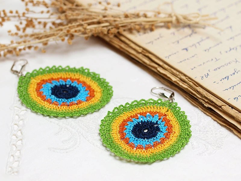 Peacock Doily Earrings Boho Chic Dangle Earrings in Green, Yellow, Orange, Blue, Aqua Hippie Boho Gypsy Style Jewelry Strip Circle Geometric - PinaraDesign