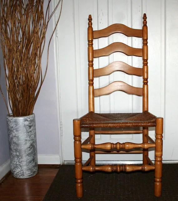 Items similar to Antique High back Ladder Back Oak Wooden