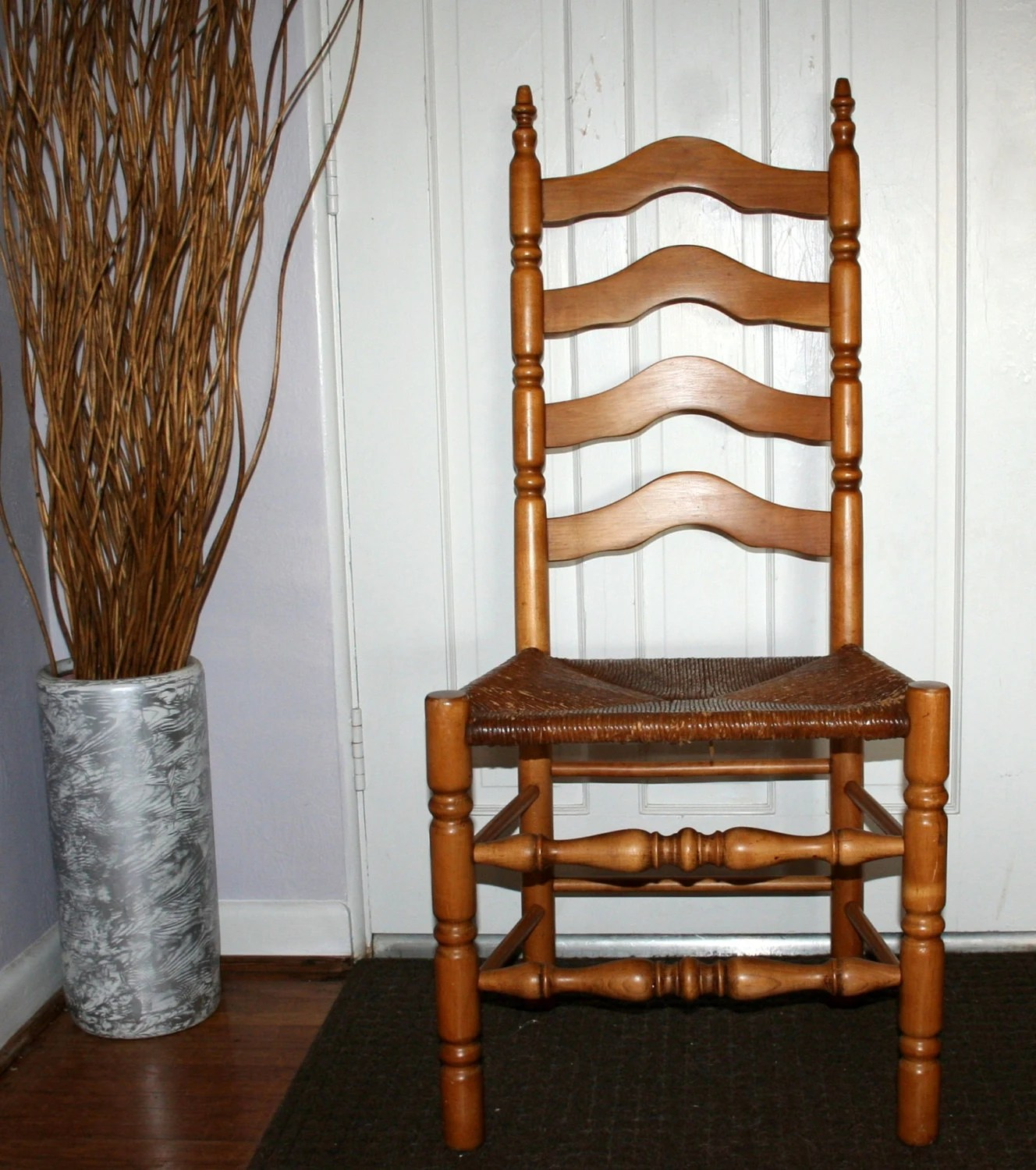 wicker ladder back chairs chair covers rental new orleans items similar to antique high oak wooden