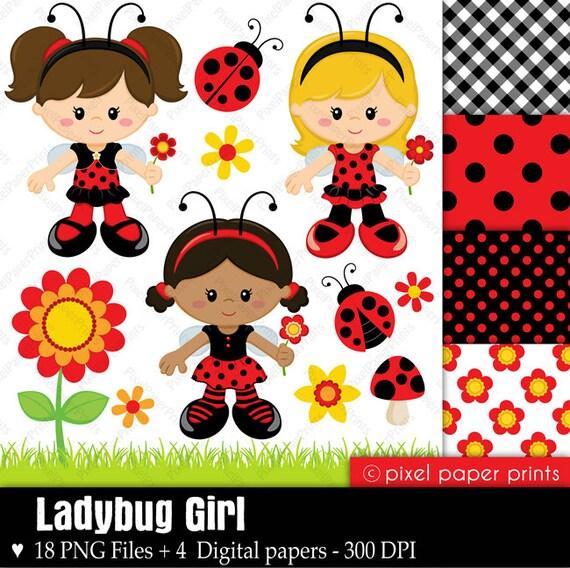 ladybug girl - digital paper