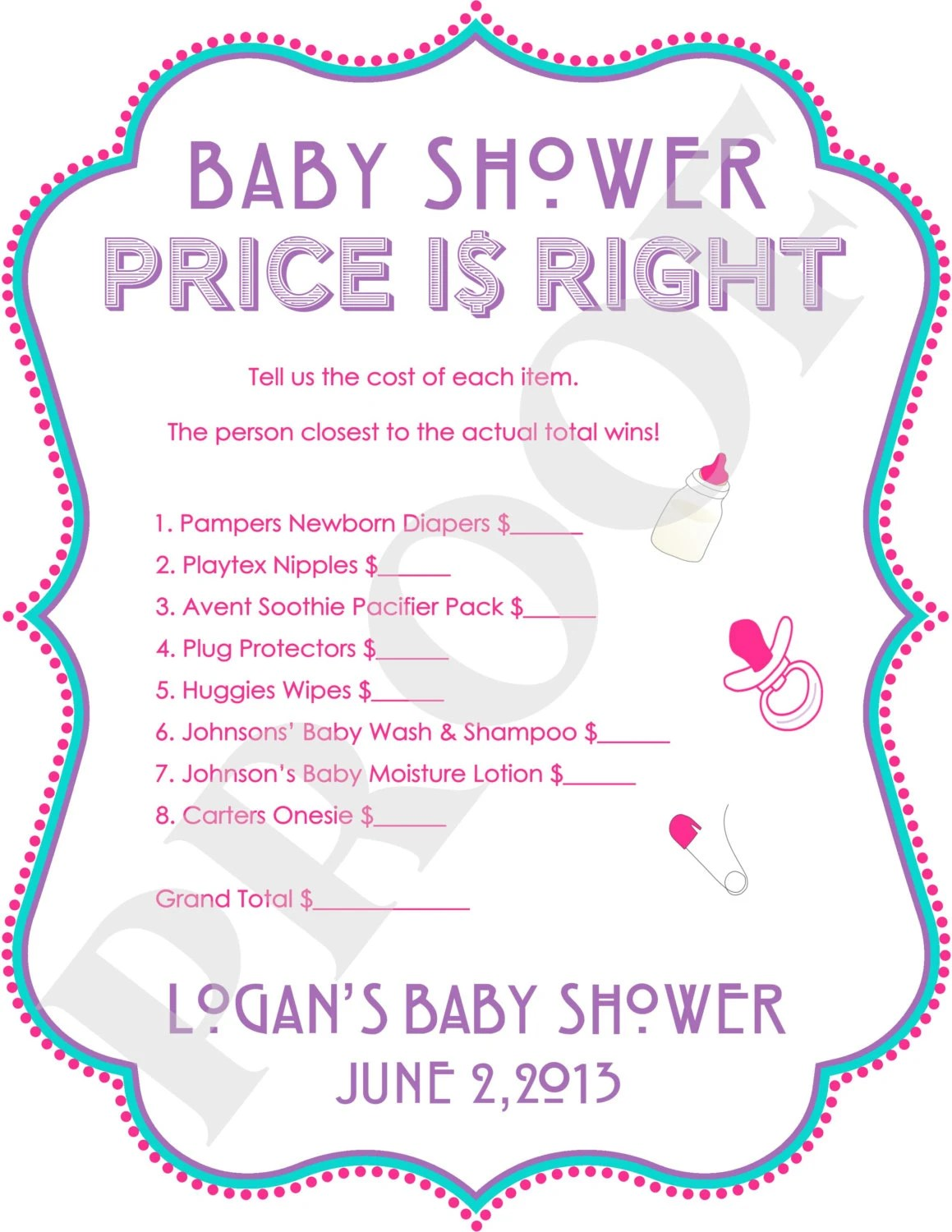 Printable Baby Shower Price Is Right Game File