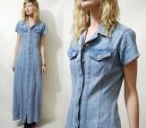 Long Denim Jean Button Down Dress