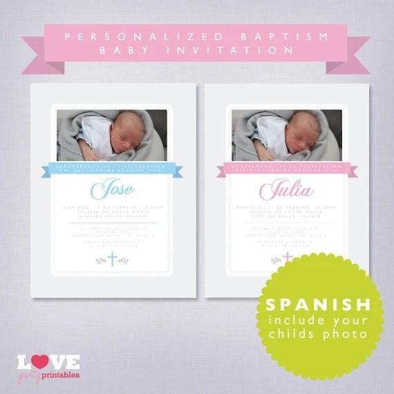 Personalized Baptism Invitations Spanish
