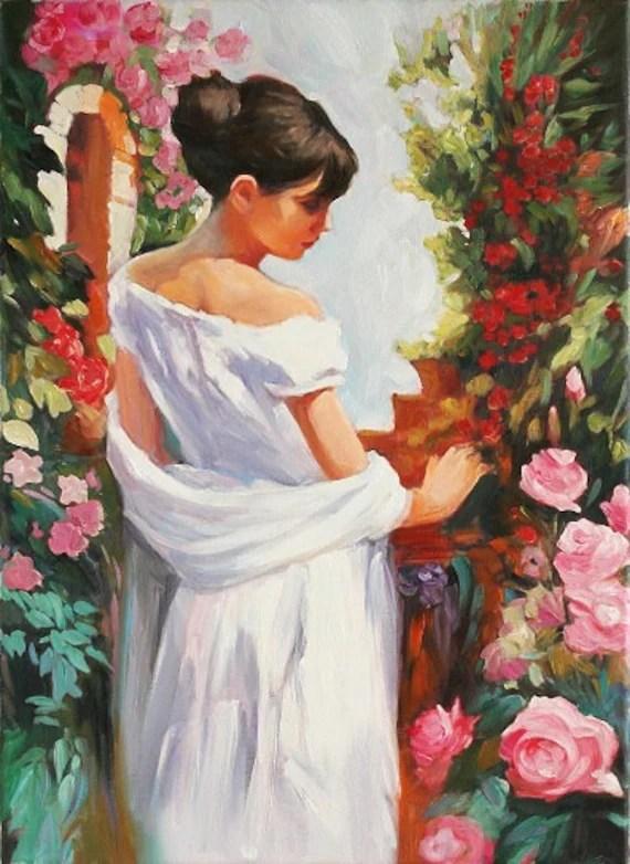 Girl in the Garden Romantic Art Original Oil by AnastassiaArt