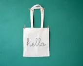 Hello printed shopping bag - reusable cotton grocery bag - market bag - diaper bag - invisiblecrown