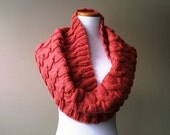 Cable Knit Cowl in Deep Coral - Non-Wool - Ready-to-Ship - LovelyLittleKnits