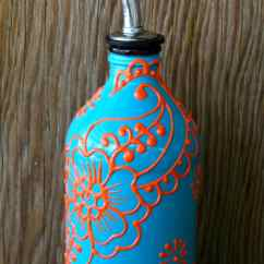 Oil Dispenser Kitchen Design Software Lowes Hand Painted Glass Bottle Olive Pourer Turquoise And