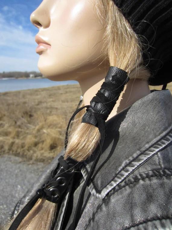 Black Leather Hair Wrap Ponytail Holder Hair Jewelry BOHO