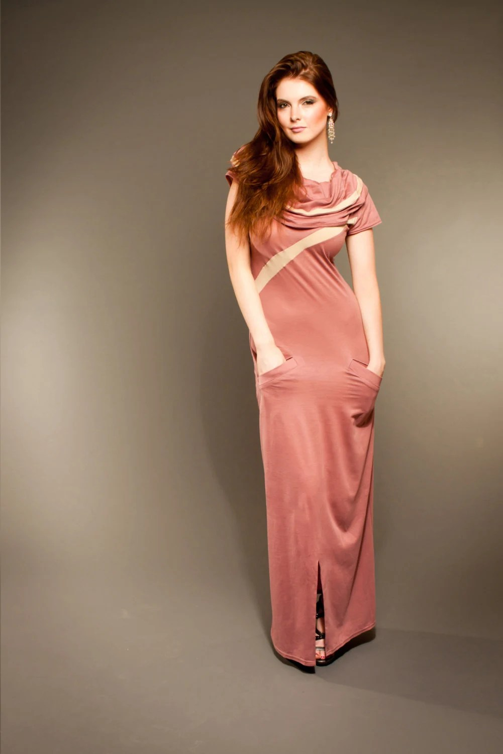 Bionic Rapture Organic Pink Cotton Maxi Dress with Hood and Gold Accents - SinuousByEmily