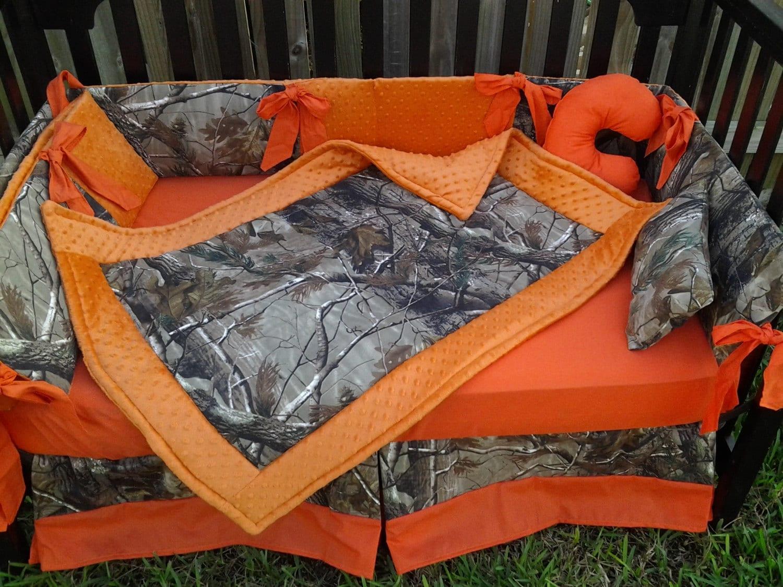 New Brown Real Tree Camouflage Mini Crib Bedding Set W Orange
