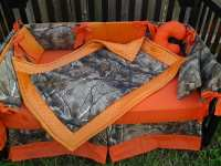 New brown real tree camouflage MINI CRIB BEDDING set w/ orange