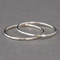 Thin Sterling Silver Rings set of two bands Hammered Rings