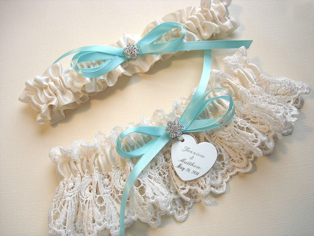 Garters Personalized Wedding Garter Set In Ivory Venice Lace