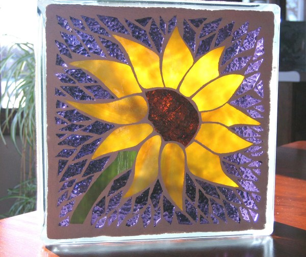 Sunflower Lighted Glass Block Mosaic Garden Glasspizazz