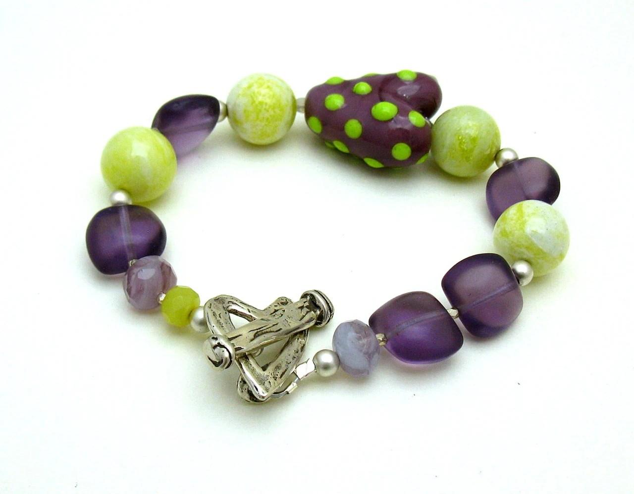 Purple Lime Heart Eclectic Lampwork Bracelet - Heartfelt / Love / Heart / Romance / Valentine - cooljewelrydesign